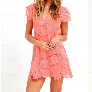 Lulu's 💕 Coral Lace Mini Dress